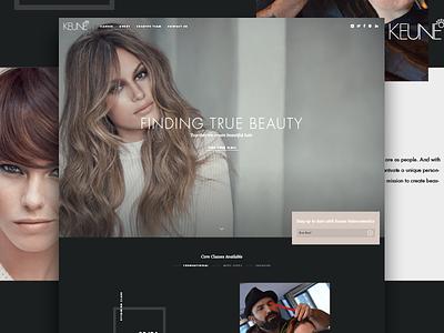 Keune Homepage cosmetics elegant black dark minimal flat ui design ui web design web