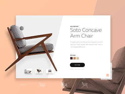 2017 Design Challenge 1 - Product Page mid century product layout creative furniture elegant clean minimal flat ui design web design web