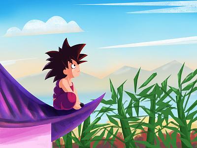 Kid Goku !! digital illustration illustration 2d flat anime goku