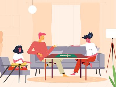 Scrabble animation explainer girl boy men man character illustration 2d