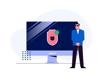 Security ui design men boy man character illustration 2d