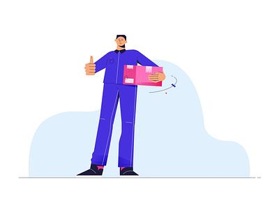 Delivery design delivery boy men man character illustration 2d