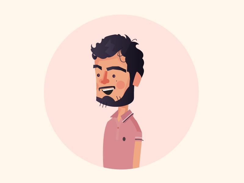 Bearded man polo pink illustrator 2d man bearded