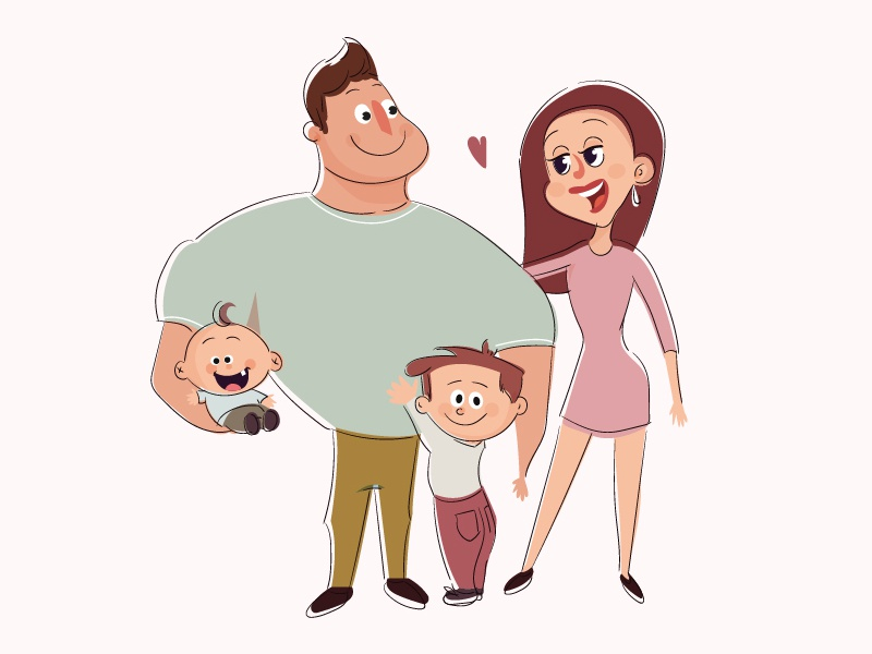 Family love baby boy brother father man mother women illustration 2d love family