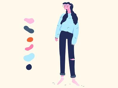 Character socks jeans sweater pullover glasses illustration 2d girl character