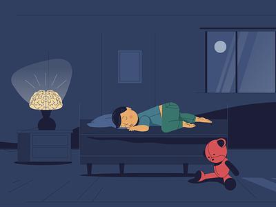 Good Night illustration bear teddy boy love family character 2d