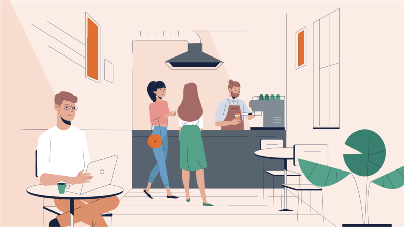 Coffee shop character women man 2d illustration cafe shop coffee