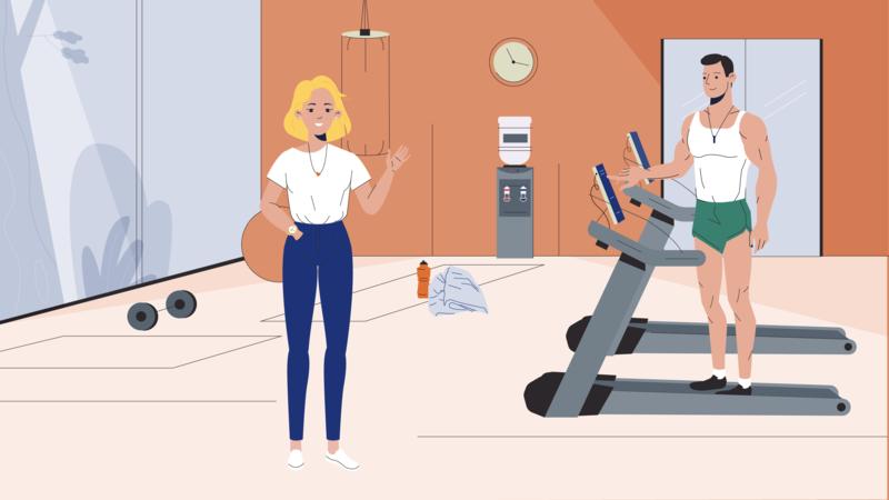 Fitness illustration 2d smile boy man women character girl fitness