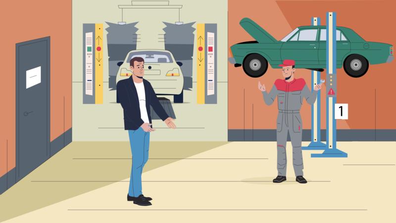 Autoservice car men boy man character illustration 2d autoservice