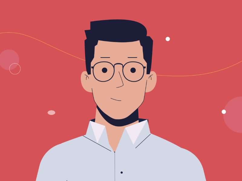 Smart Men men boy character glasses smile illustration 2d man smart