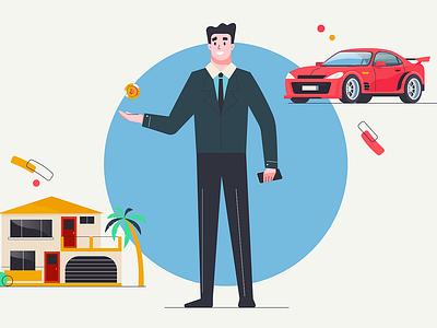 Bitcoin men bitcoin house car vector men smile design man character illustration 2d