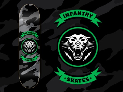 Infantry Skates Panther Deck bradford design bradford badgedesign logo design brand design skateart skatedeck skateboarding skateboard