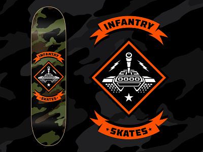 Infantry Skates Tank Deck bradford design bradford infantry camo military tank logodesign badgedesign skateboarding art skatedeck skateart skateboarding skate