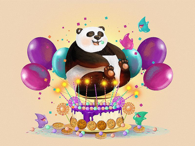 Поздравительные открытки панда