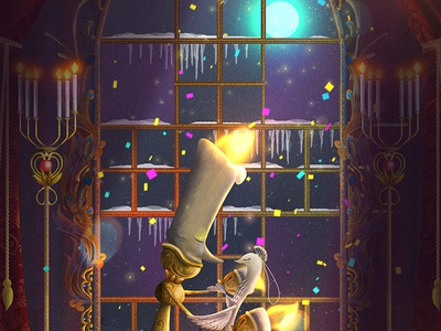 Lumiere and Plumette  digital cartoon characterdesign conceptart poster illustration fairytale ornament baroque candle beautyandthebeast disney