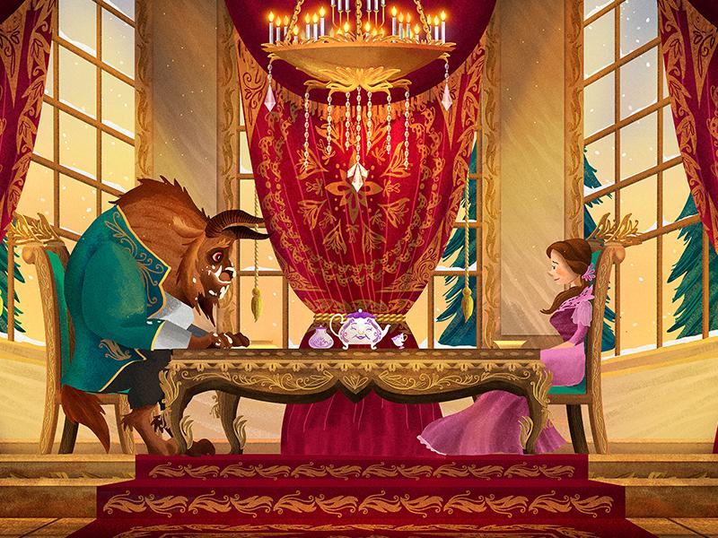 Beauty and the Beast Breakfast digital cartoon characterdesign conceptart poster illustration fairytale ornament baroque food beautyandthebeast disney