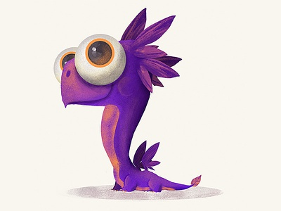 Little Purple Dragon digital painting digital art character design illustration drawing magic fantsy lizard animal reptile monster dragon