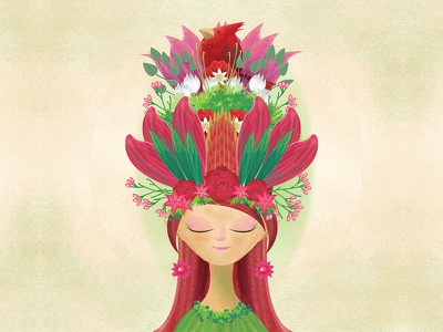 The Red Queen digital painting concept art character design digital art illustration drawing garden floral fairy animal red flower