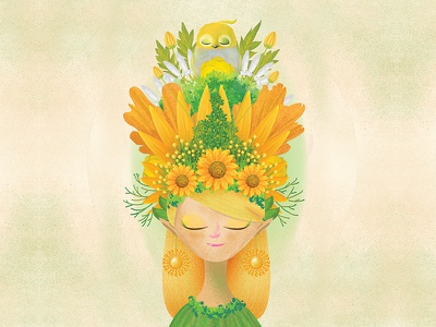 The Yellow Queen flower red animal fairy floral garden drawing illustration digital art character design concept art digital painting