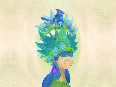 The Blue Queen flower red animal fairy floral garden drawing illustration digital art character design concept art digital painting