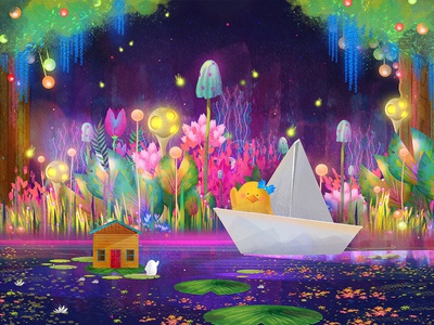 A Visit From A Good Friend floral lily pond riverboat river bayou swamp neon glowing fluorescent magical digital painting duck flower digital art character design animal digital drawing illustration