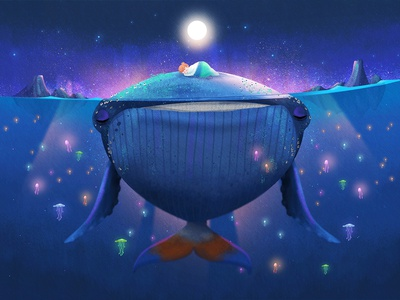 Mawoo the Whale of the West calm wave friendship fin flipper little lighthouse studio glowing fluorescent jellyfish blue sea humpback whale whale marine concept art ocean digital art animal digital illustration