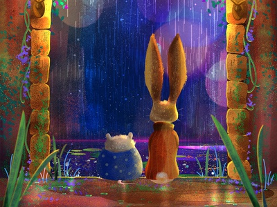 The Long Night storm friends night ruins river rain castle childrens illustration childrens book fairytale hamster bunny rabbit concept art digital art character design animal digital drawing illustration