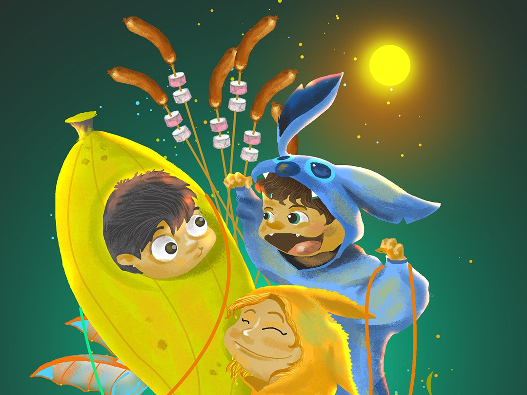The Onsie Trio alien memory roadtrip onesie trio friendship costume party adventure camping food sausage disney lilo kangaroo banana digital art character design digital drawing illustration