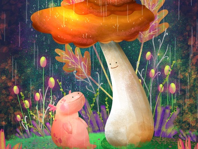 Salamander and the Fun Guy nature ecosystem biology floral plants mushroom rain magical enchanted forest character digital painting flower concept art digital art character design animal digital drawing illustration