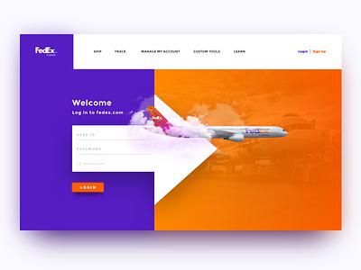 FedEx Login - Daily UI expedition airplane plane shipping web ui user login fedeex cards