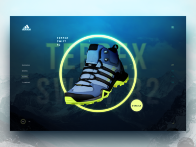 Adidas Terrex Concept mountains details web ui homepage fluo shoes product landing sport adidas
