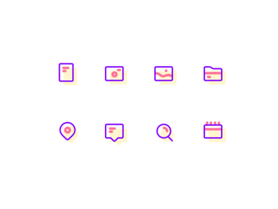 Icon set search pin minimal icon gallery folder documents chat camera calendar violet