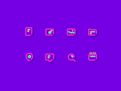 Icon set neon search pin minimal icon gallery folder documents chat camera calendar neon