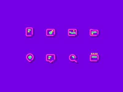 Icon set neon