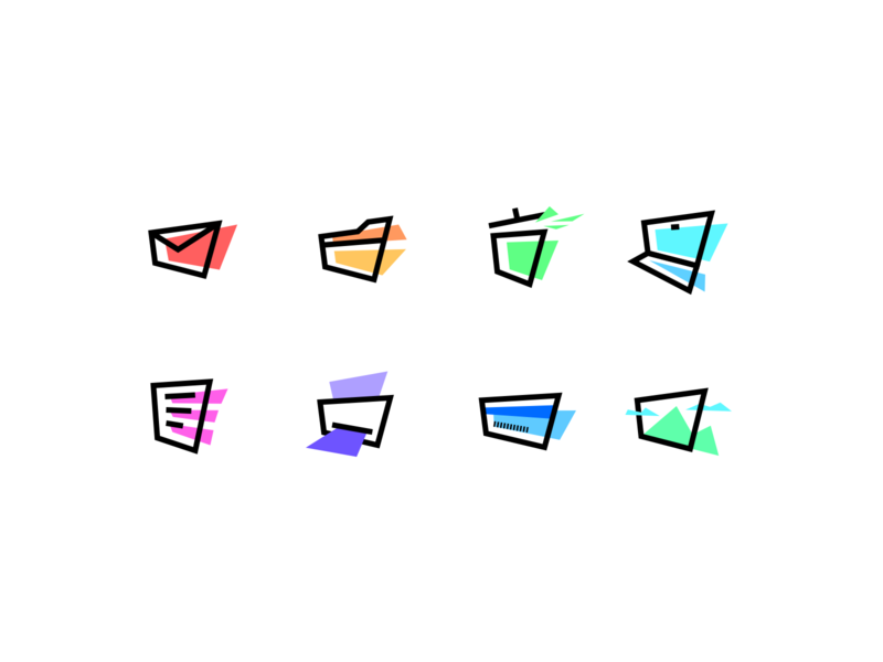 Icon Set '90 perspective delete trash print icon artwork documents doc photo image payments credit card card desktop mail folder fluo minimal set icon 90