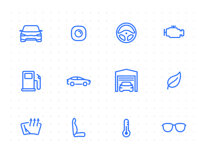 Automotive icons set [opensource] glasses chair garage steering wheel vehicle car free automotive icons open source