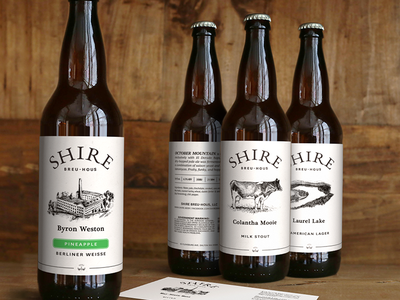 Shire Bottles drawing lake factory cow 22oz bomber simple illustration print label craft beer