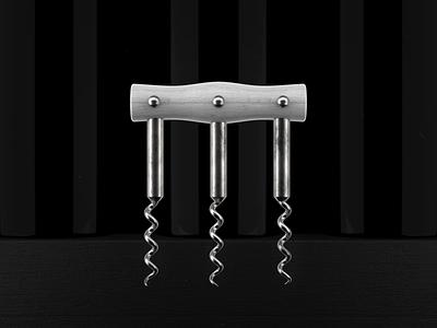Fighting Corkscrew black and white symmetry cinema4d c4d c4d42 3d print design illustration