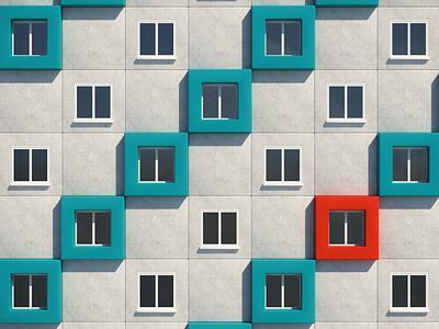 Where Does Patrick Live? composition windows window balance cinema4d c4d42 c4d 3d print building design illustration