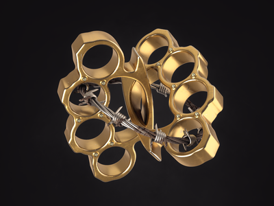Brass Knuckles Community product barbed wire wire gold brass knuckles cinema4d c4d42 design c4d 3d print illustration