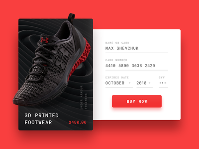 Credit Card Checkout - DailyUI #002 dailyui 002 credit card under armour card sport sneakers modal dailyui challenge