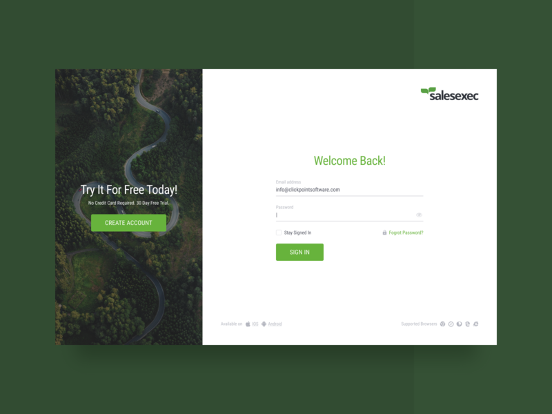 SalesExec Login Page web design user interface welcome screen loginpage design web dailyui signup sign in userinterface ui clear minimal clean green crm login screen login form login page login