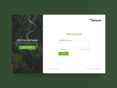 SalesExec Login Page signin sign up web design user interface welcome screen design web dailyui signup sign in ui clear minimal clean green crm login screen login form login page login