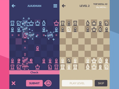 Chessplode (iPhone/Android) - Screenshots ios mobile ui game app 2d mobile games minimalist minimal mobile game chess game chess googleplay appstore android iphone