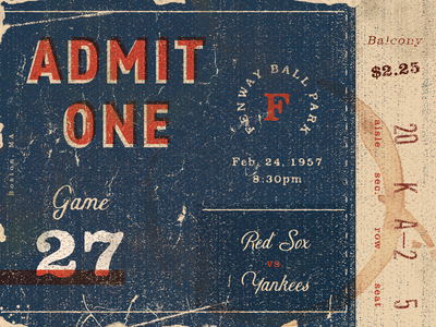 Vintage Red Sox Ticket