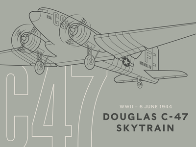 C-47 air force veteran military army united states usa d day wwii world war 2 plane illustration line art typography vintage usaf c-47 airplane normandy