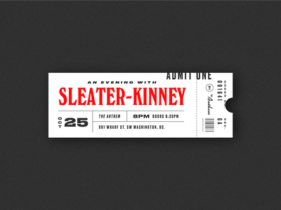 Sleater-Kinney concert washington dc riot girl windsor bands sleater-kinney layout texture music retro lettering vintage ticket type typography
