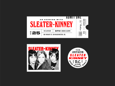 Sleater-Kinney riot grrrl washington dc dc concert bands sleater-kinney halftone texture layout ticket badge vintage type typography