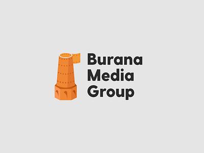 Burana media group media burana brand kyrgyzstan vector character logotype corporate mark identity illustration design