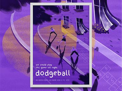 Dodgeball game illustration flat vector street child night play dodgeball game design game art illustration game